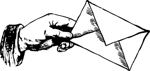 Drawing of a hand holding an envelope
